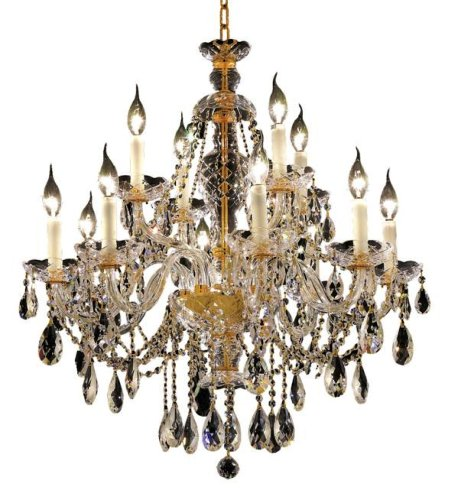 Elegant Lighting 7829D28G/RC Alexandria 31-Inch High 12-Light Chandelier, Finish with Crystal (Clear) Royal Cut RC Crystal, 29.5