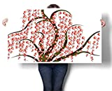 """Sunset glow Large Wall Art Artistic Tree with Striped Trunk and Red Dots Berries Curvy Branches Canvas Wall Art for Boys Room Baby Nursery Wall Decor Kids Room Boys Gift 24""""x20"""""""