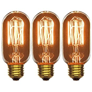 Sunlite 40T14/AQ/T/SM/3PK 120-volt 40-watt Medium Base Incandescent Antique Radio Style T14 Lamp, 3-Pack