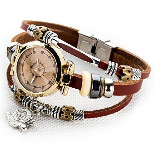 Women's Lady's Girl's Fashion Wrist Bracelet Watch With Cute Snail Charm Genuine Leather Band Gift (Snail charm)