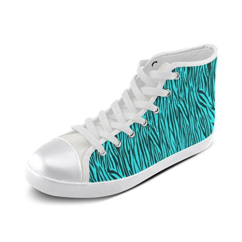 Top 002 Custom Shoes Turquoise High Stripes Story Zebra Model Canvas D Womens 0q1pPp