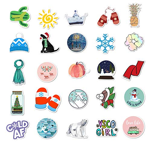 Winter VSCO Stickers, 50PCS Cute Christmas Stickers for Water Bottle Waterproof Trendy Vinyl Aesthetic Stickers Bicycle Skateboard Laptops Luggage Graffiti Stickers for Teens, Girls, Kids, Adults