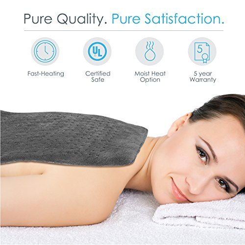 PureRelief XL – King Size Heating Pad with Fast-Heating Technology, 6 Temperature Settings & Convenient Storage Bag – Charcoal Gray (12″ x 24″)