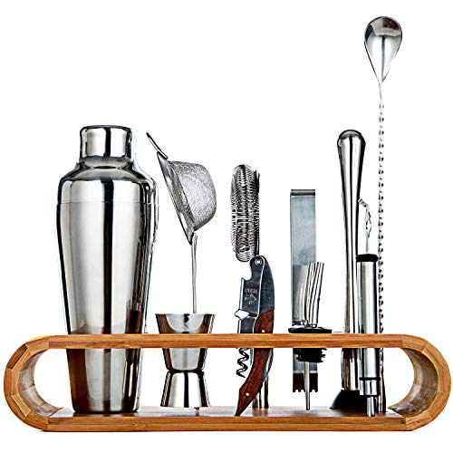 Jillmo Pro Bartender Kit-11pieces Premium Bar Tools with Stylish Bamboo Stand-Perfect Home Bartending Kit and Cocktail Shaker Set/19oz Parisian Cocktail Shaker with bar Accessories by Jillmo