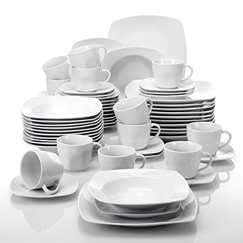 Malacasa, Series Julia, 60-Piece Ivory White Porcelain Tabletop Dinnerware Sets of 12-Piece Cups, 12-Piece Saucers, 12-Piece Dessert Plates, 12-Piece Soup Plates and 12-Piece Dinner Plates by Malacasa