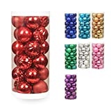 ChristmasExp 24ct Dust-Free Christmas Ball Shatterproof Christmas Tree Balls Ornament Set Decorations for Holiday Xmas Party Decoration,Tree Ornaments Hooks Included 60mm (2.36'', Red)