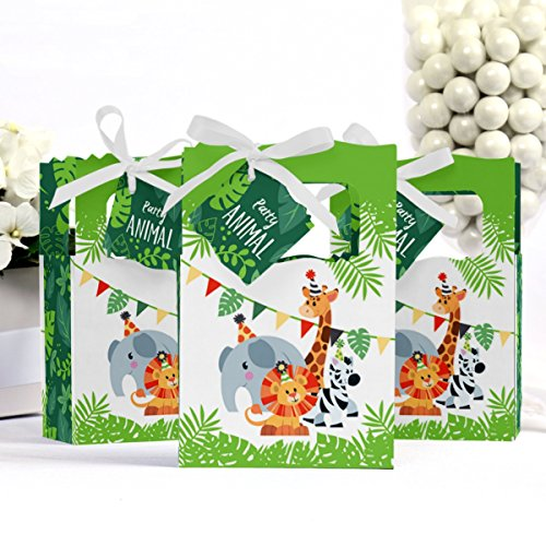 Aparty4u 48Pcs Jungle Theme Party Favor Bags Safari Animal Gift Bags Zoo Goodie Candy Treat Boxes for Jungle Theme Birthday Baby Shower Supplies
