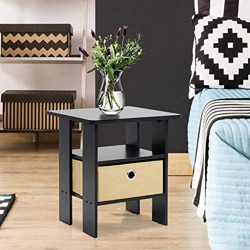 home, kitchen, furniture, living room furniture, tables,  end tables 10 image Furinno End Table Bedroom Night Stand, Petite, Espresso in USA