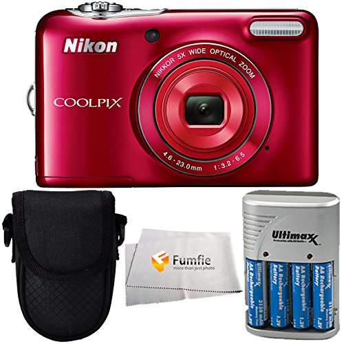 Nikon COOLPIX L32 Digital Camera (Red) Bundle Includes 4x AA (3150mAh) NiMH Rechargeable Batteries with Rapid Travel Charger + Point & Shoot Carrying Case & Microfiber Cleaning Cloth! by Fumfie