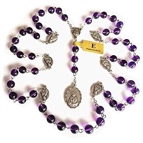 (elegantmedical Handmade Valuable Amethyst Bead 7 Seven Sorrows Mary Rosary Beads Catholic Necklace)
