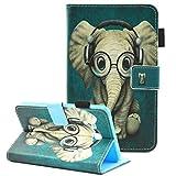 Samsung Galaxy Tab A 7.0 Case, SM-T280 Case, SM-T285 Case, Fvimi Folio Cute Cartoon Design PU Leather Wallet Stand Cover for Samsung Galaxy Tab A 7.0 Inch Tablet 2016 Release, Glasses Elephant