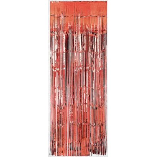 (Red Metallic Fringed Table Skirt | Party)