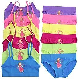 ToBeInStyle Girls\' Pack of 6 Set of Bras & Brief Panties - Magic Flower - Small