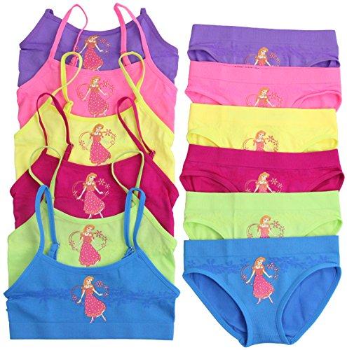 ToBeInStyle Girls' Pack of 6 Set of Bras & Brief Panties - Magic Flower - Large by ToBeInStyle