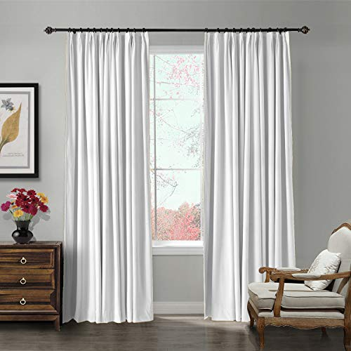 ChadMade Pinch Pleated 72W x 84L Blackout Lined Velvet Curtain Drapery Panel for Traverse Rod or Track, Living Room Bedroom Meetingroom Club Theater Patio Door (1 Panel), White