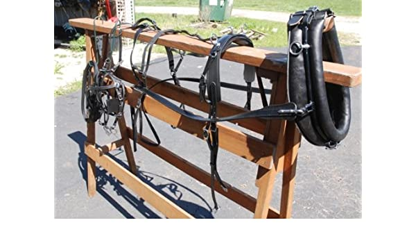 "13/"" SiNGLe COLLAR CART DRIVING Leather Harness HAMES MINI Black /& Red Trim"