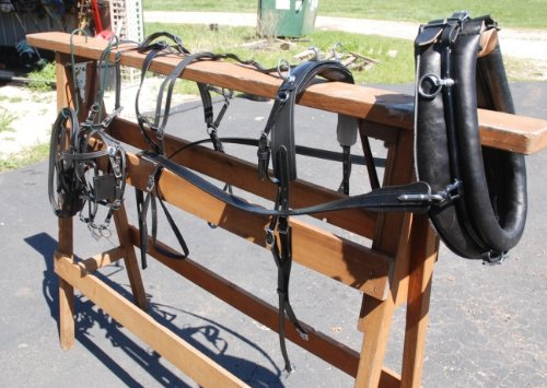 Leather Frontier Harness - Amish Beta Miniature Horse Harness with Collar & Hames