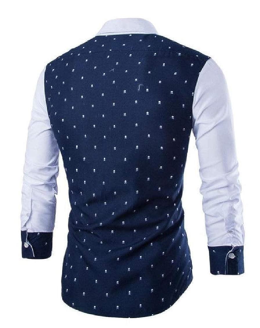 Hajotrawa Mens Long Sleeve Printing Turn Down Simple No-Iron Button Front Shirts