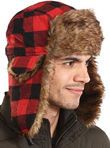Trapper Hat - Winter Trooper Aviator Earflap Eskimo Hat - Fits Men, Women & Elmer Fudd - Russian Ushanka with Faux Fur & Ear Flaps for Cold Weather Hunting & Skiing (Lumberjack Red Plaid)