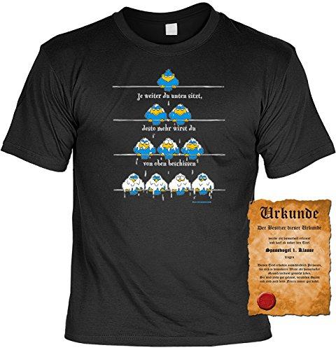 T-Shirt mit Urkunde - Je weiter unten du sitzt, desto mehr wirst du von oben beschissen - lustiges Sprüche Shirt als Geschenk für Leute mit Humor - NEU mit gratis Zertifikat!