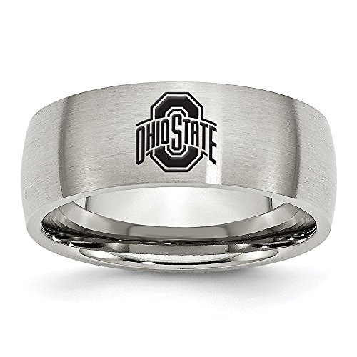 (Jewel Tie Size 13 - Stainless Steel Ohio State University Laser Etch Ring (8mm))