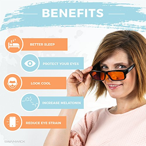 Swanwick Sleep Fitover Blue Light Blocking Glasses and Computer Eyewear - Wear OVER your Prescription Glasses or Readers by Swanwick Sleep (Image #1)