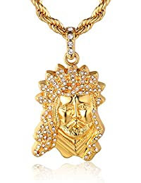 "Halukakah ""GOLD BLESS ALL"" Men's 18k Real Gold Plated Jesus Pendant Necklace with FREE Rope Chain 30"""