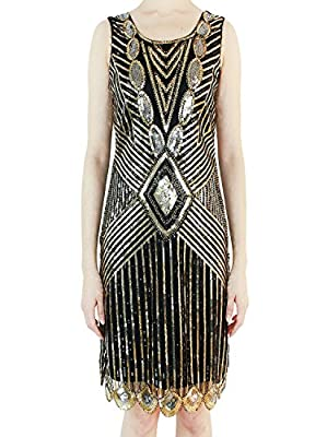 Vijiv Women's 20s Embellished Glam Inspired Beaded Cocktail Flapper Gatsby Dress