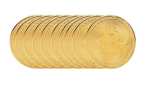 OutTop 10Pcs Art Gold Plated Bitcoin Collection Coin Home Room Office Decoration (Gold) by Outtop