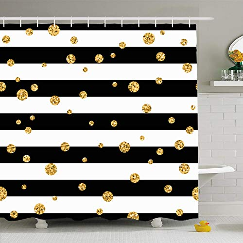 Ahawoso Shower Curtain 72x72 Inches Shiny Yellow White Gold Polka Dot On Lines Wave Holidays Black Stripe Pattern Birthday Abstract Big Waterproof Polyester Fabric Set with Hooks