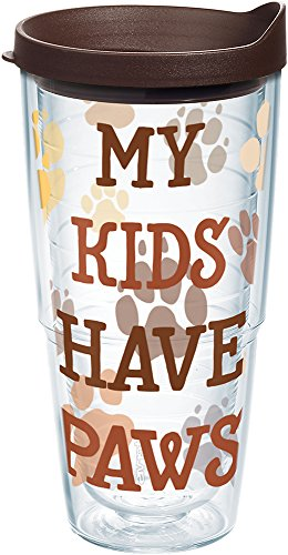 Tervis 1247870 My Kids Have Paws Tumbler with Wrap and Brown Lid 24oz, Clear