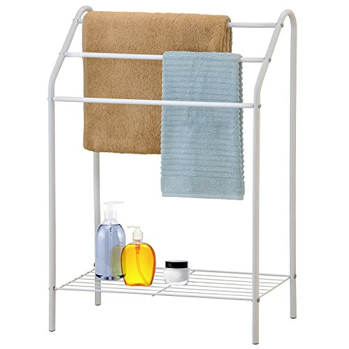 Freestanding 3 Tier Metal Towel Rack, Chrome Bathroom Towel Bar, White (White With Shelf Rack Towel)