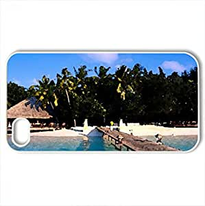 Beautiful MALDIVES - Case Cover for iPhone 4 and 4s (Beaches Series, Watercolor style, White)