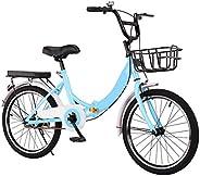 WWFAN 16 Inch Wheel, Bicycle Single Speed Folding City Bike Womens Bike Compact Road Bike Comfortable Cruiser