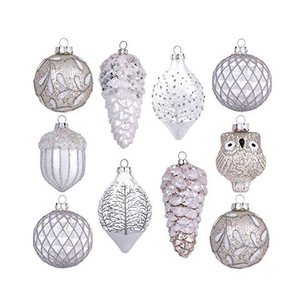 Valery Madelyn Palle di Natale Vetro Addobbi Natalizi Set, 10 Pezzi 10-15cm Silver And White Palline di Natale Decoration for Addobbi Natalizi per Albero 1 spesavip