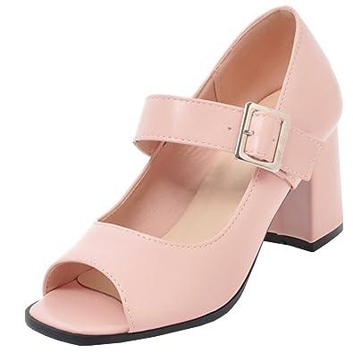 Atyche Damen High Heels Peeptoes Sandalen mit Schnalle und Blockabsatz Riemchenpumps Moderne Schuhe