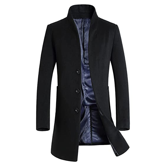 2017 Men's Wool Trench Coat Slim Fit Long Jacket Single Breasted ...