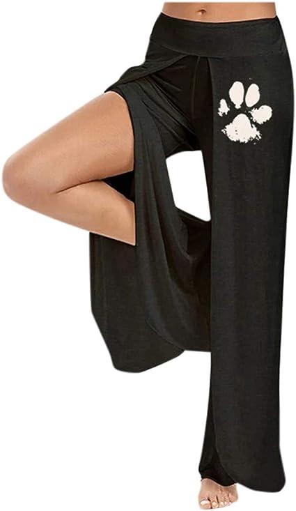 Amazon Com Pantalones Anchos Para Mujer Talla Grande Informales Con Estampado De Huellas De Perro Pantalones De Yoga Sueltos Y De Cintura Alta Pantalones De Salon Palazzo Sports Outdoors