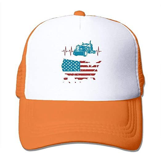 Image Unavailable. Image not available for. Color  liappo Two Tone Trucker  Hat - Truck Driver Heartbeat Vintage American Flag ... 09bdc25a2050