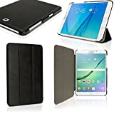 """iGadgitz Premium Black PU Leather Smart Cover Case for Samsung Galaxy Tab S2 8"""" SM-T710 with Multi-Angle Viewing Stand + Auto Sleep/Wake + Screen Protector"""