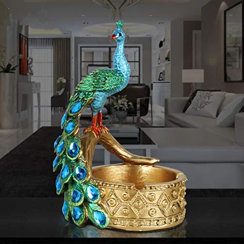 JONARO 1 pcs Large Peacock Resin Ashtray European Restaurant Bar KTV Personality Ornaments Birthday Gift