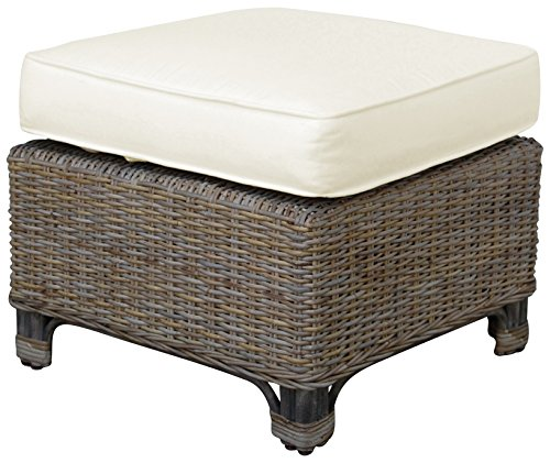 Panama Jack Sunrooms PJS-3001-KBU-OT Exuma Ottoman with Cushion, Light Beige