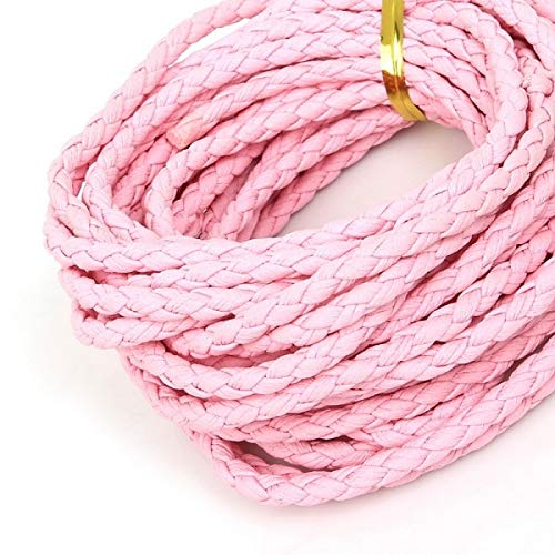 Laliva Accessories - 5m/lot 4mm Round Braided PU Leather Cord Rope Thread String DIY Jewelry Making Necklace Bracelet Cord Accessories - (Color: - Pink Leather Rope