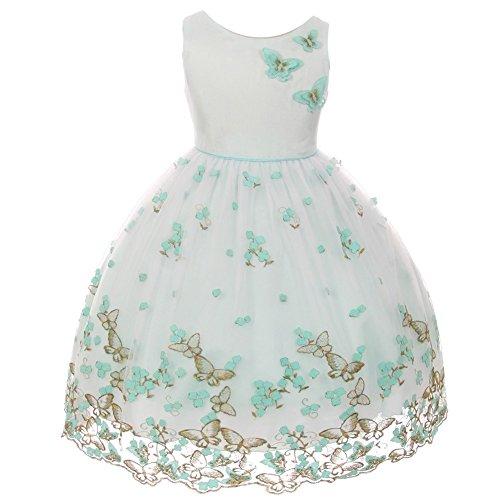 Kids Dream Little Girls Mint Metallic Butterfly Flower Easter Dress - 388 Mint