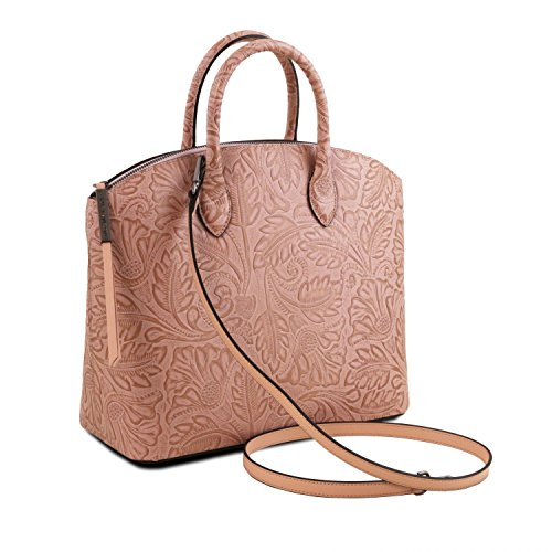Tuscany Leather Gaia Borsa shopper in pelle stampa floreale Grigio Nude