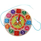 MagiDeal Kids Wooden Digital Geometry Clock, Colors Shapes Matching Game - Zebra