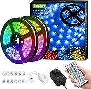 Lepro LED Strip Lights Kit, 50ft Ultra-Long RGB LED Light Strips, Dimmable Color Changing Light Strip with Rem