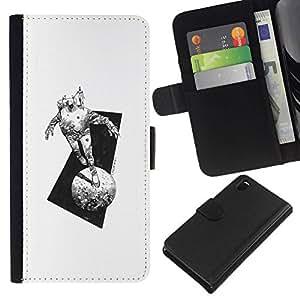 All Phone Most Case / Oferta Especial Cáscara Funda de cuero Monedero Cubierta de proteccion Caso / Wallet Case for Sony Xperia Z3 D6603 // Space Suit Moon Monster Travel Art Pencil