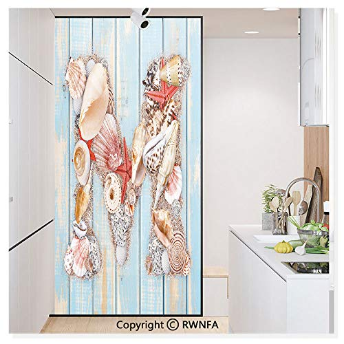 Window Glass Sticker Door Mural Aquatic Inspirations with a Wooden Background Ocean Pale Colored Static Cling Privacy No Glue Film Home Decorative 11.8x59.8inch,Pale Blue Ivory Dark Coral