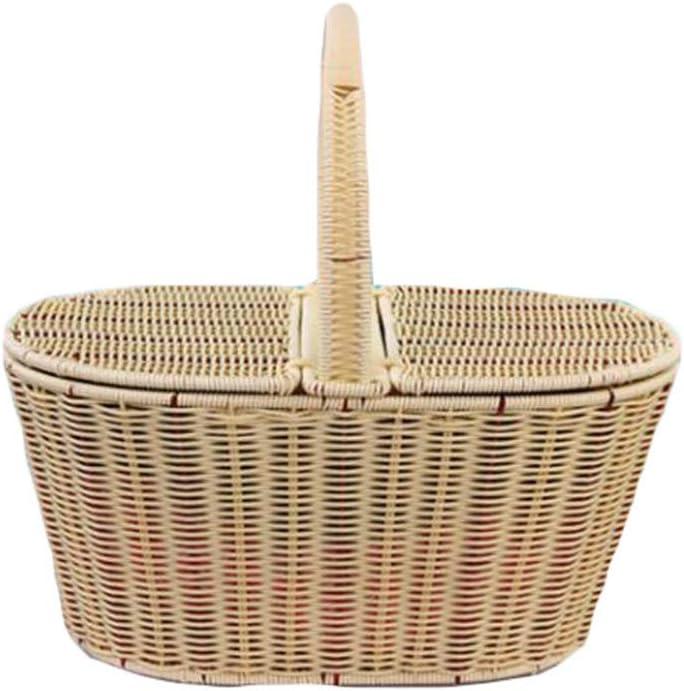 Cesta de picnic impermeable Willow para acampar Cesta de picnic tejida a mano, canasta de picnic de Pascua de mimbre de polipropileno con tapa y asa, para fiestas de picnics y barbacoas Almacenamiento